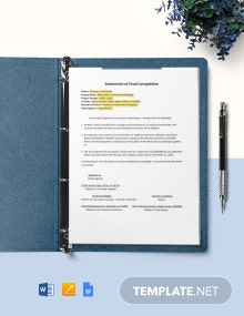 Construction Statement at Completion Template