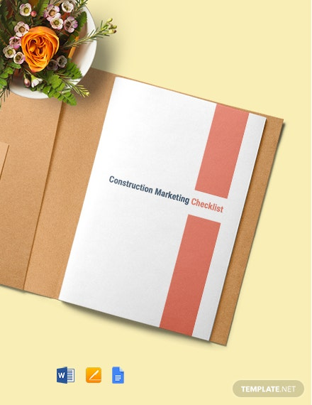 Construction Marketing Checklist Template