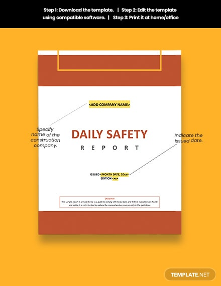 Construction Safety Daily Report Download