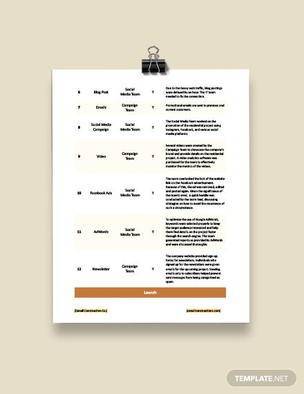 Construction Project Marketing Checklist Template download