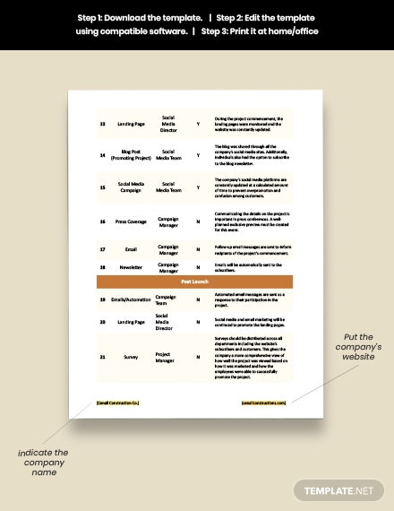 Construction Project Marketing Checklist Template example