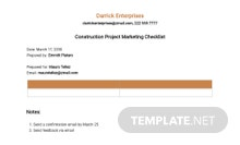 Construction Project Marketing Checklist Template