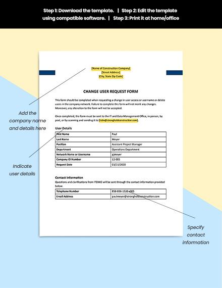 Construction Change User Request Form Guides