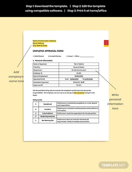 Construction Employee Appraisal Form Guides