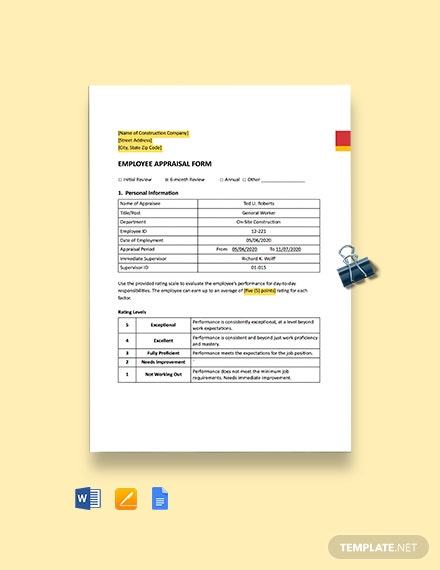 Construction Employee Appraisal Form Template