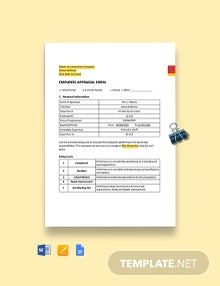 Construction Employee Appraisal Form Template