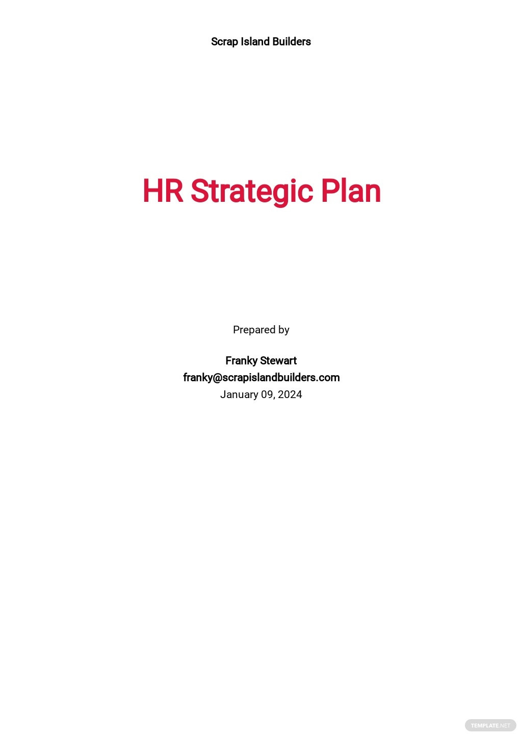 Construction HR Strategic Plan Template