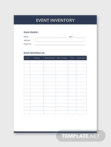 Event Inventory Template