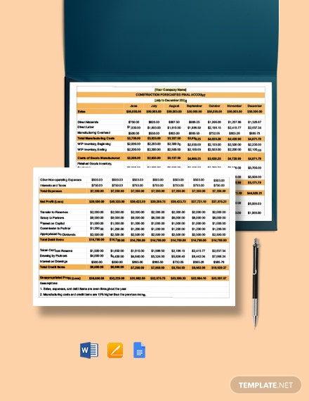 Construction Forecasted Final Account Template