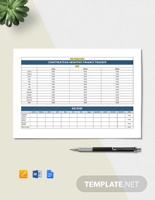 Construction Monthly Finance Tracking Template