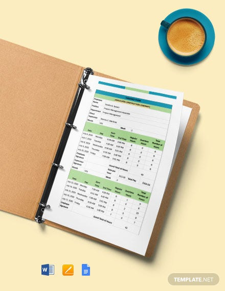 Construction Staff Timesheet Form Template