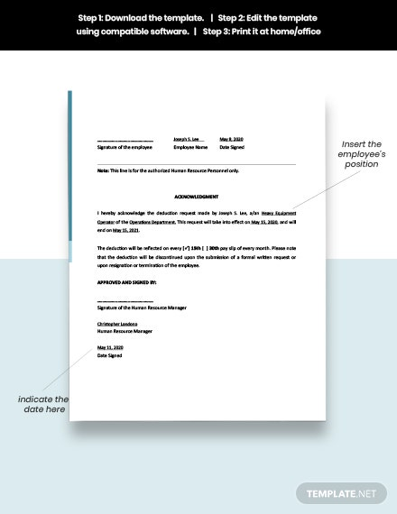 Construction  Salary Deduction Authorization Template download