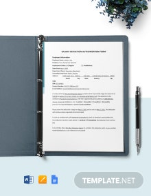 Construction Salary Deduction Authorization Template