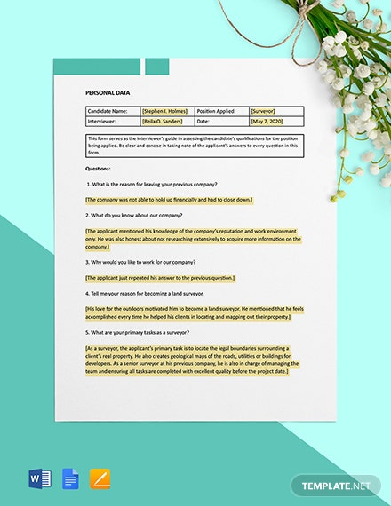 Construction Interview Form - Surveyor Template