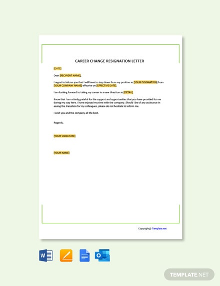 Free Career Change Resignation Letter Template
