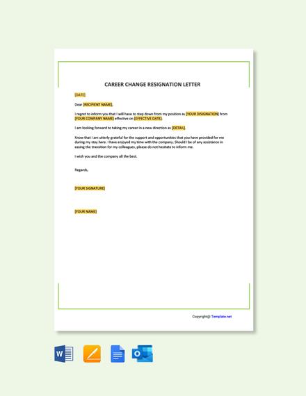 Free Career Change Resignation Letter Template
