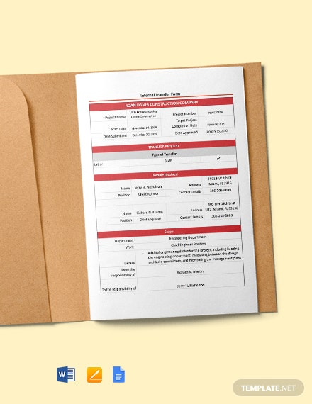 Construction Internal Transfer (Staff) Form Template