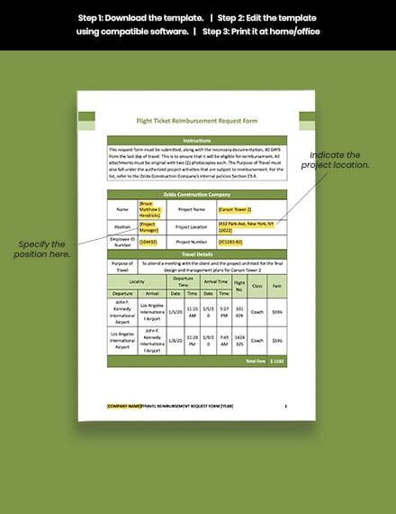 Construction Flight Ticket Reimbursement Request Form Download