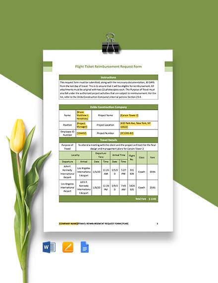 Construction Flight Ticket Reimbursement Request Form Template