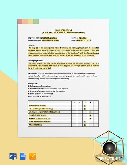 Construction Training Skills Template