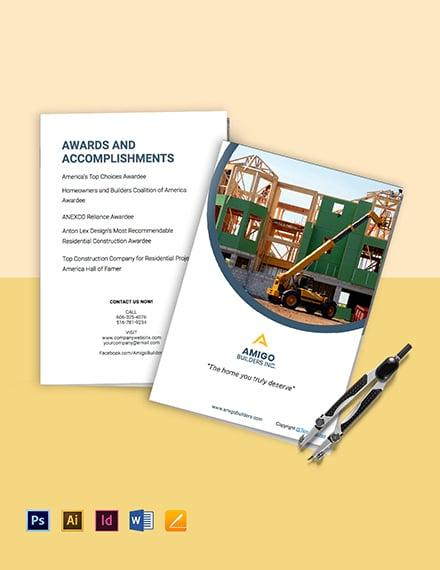 Editable Residential Construction Bi-Fold Brochure Template