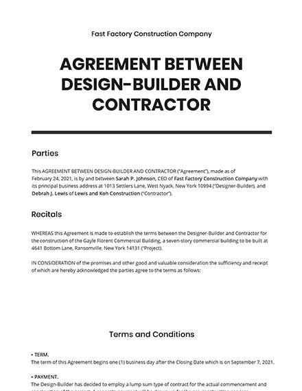 Agreement Between Design-Builder and Contractor Template