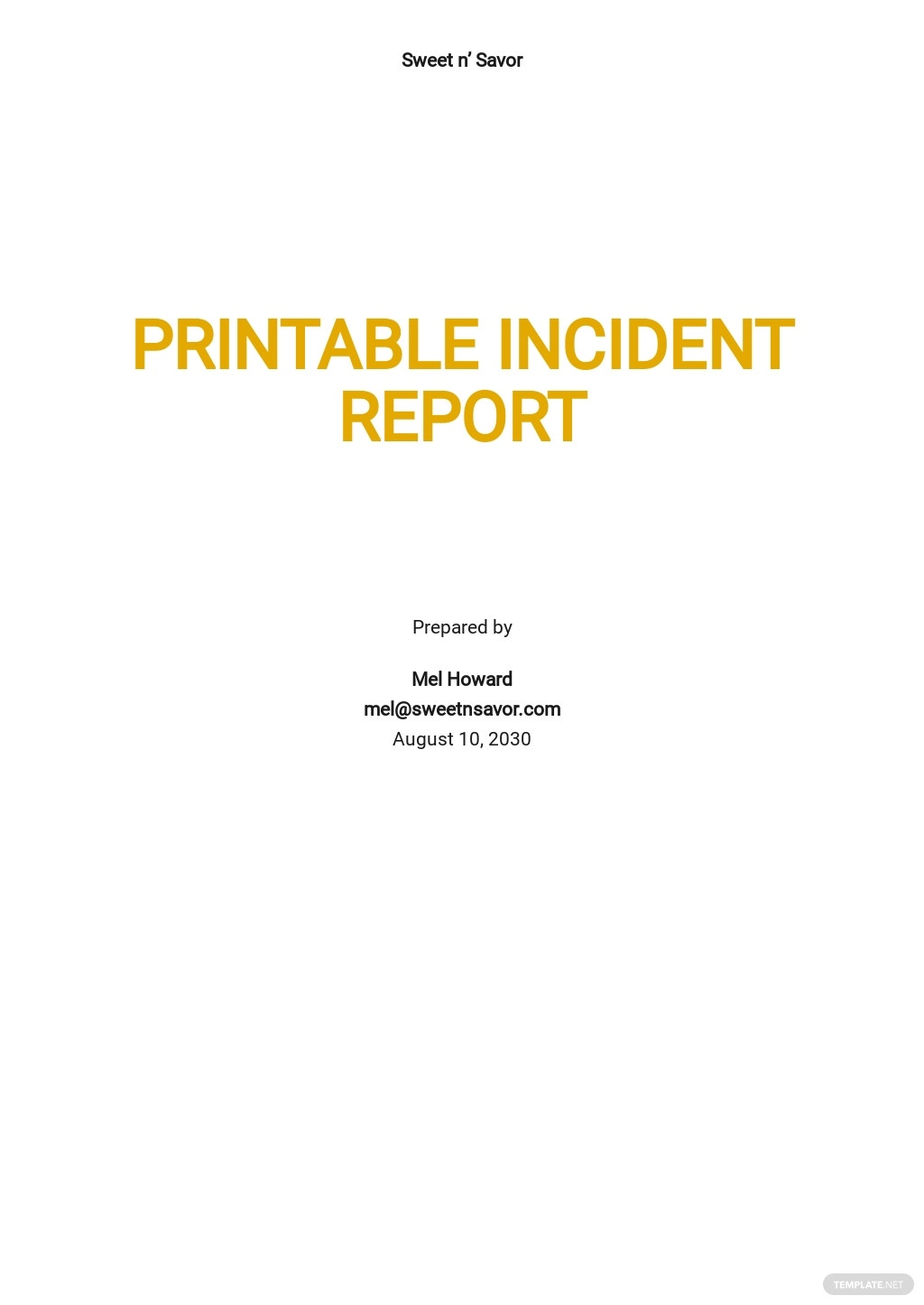 Printable Incident Report Template