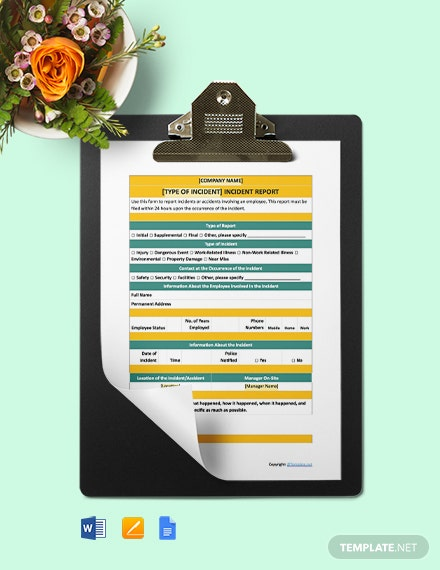 Free Printable Incident Report Template