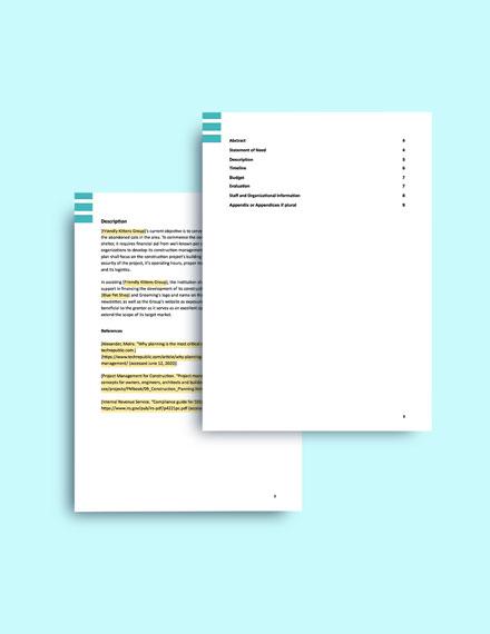 Construction Management Plan Grant format