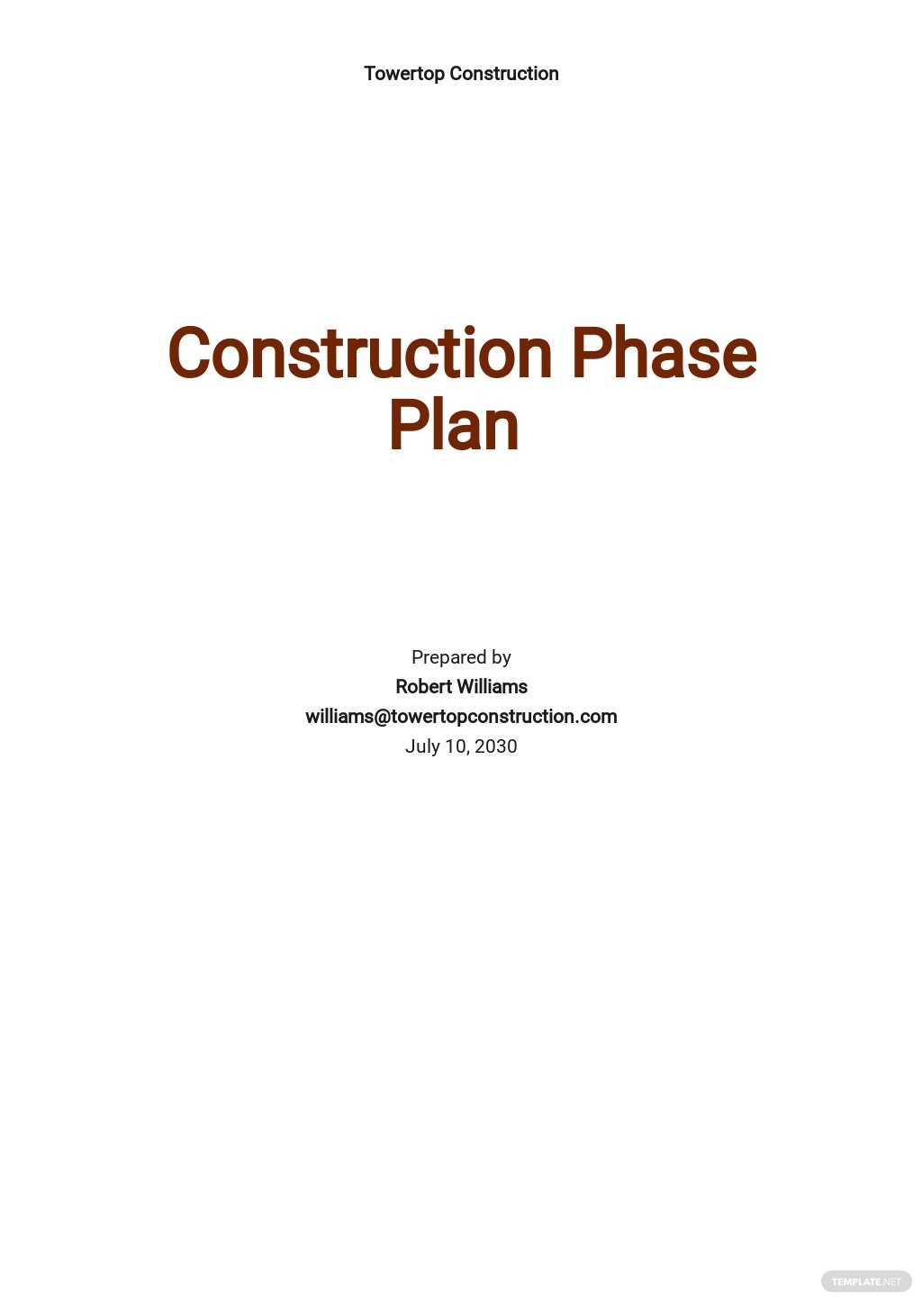 Simple Construction Phase Plan Template
