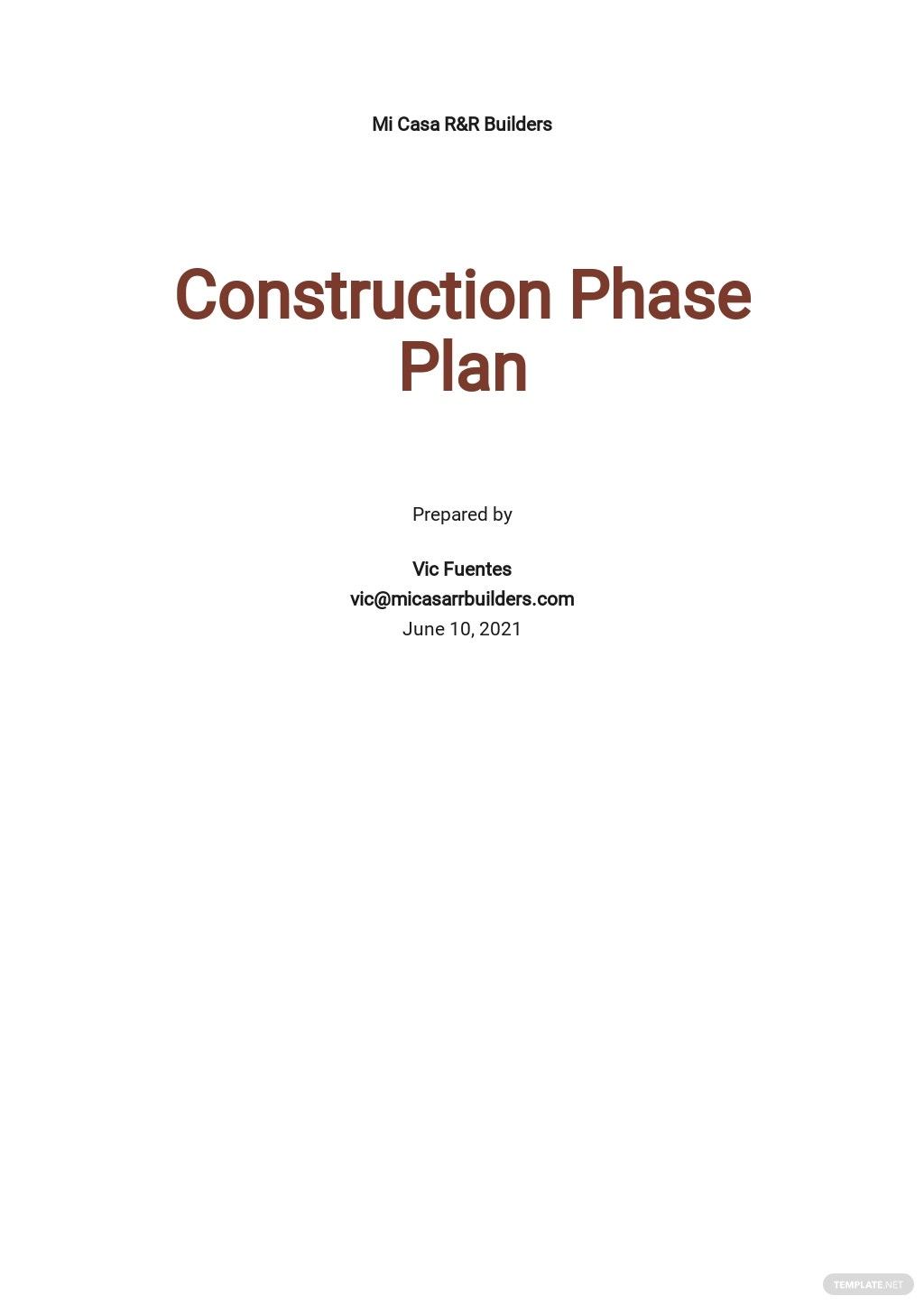 Sample Construction Phase Plan Template