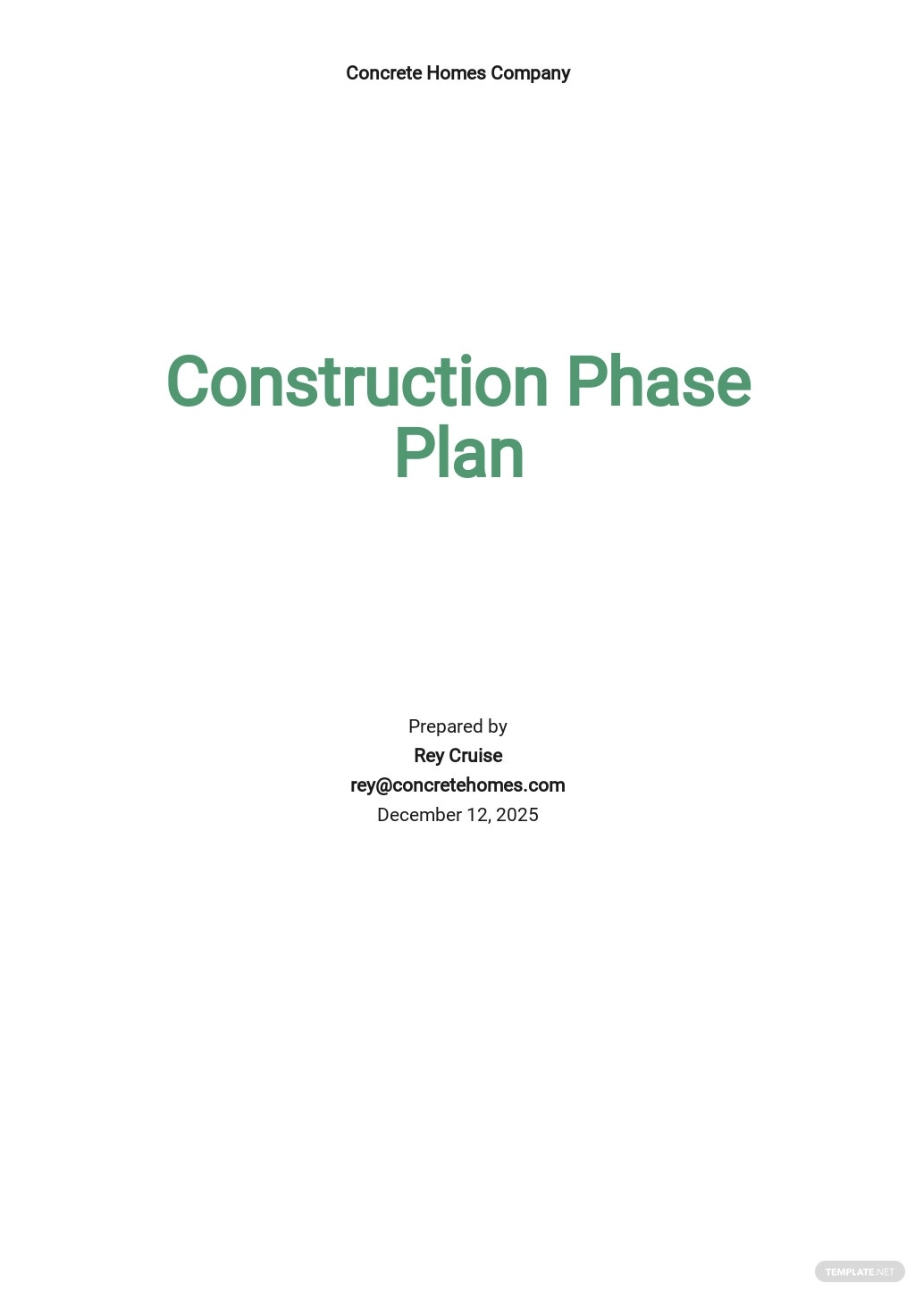 Blank Construction Phase Plan Template