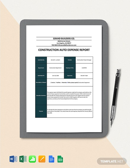 Construction Auto Expense Report Template Format