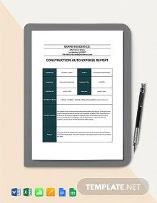 Construction Auto Expense Report Template