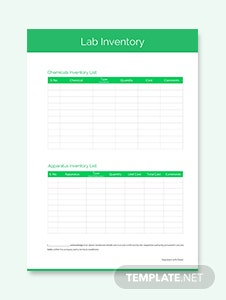Lab Inventory Template