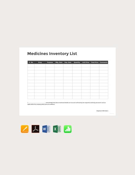 Free Medicine Inventory Template