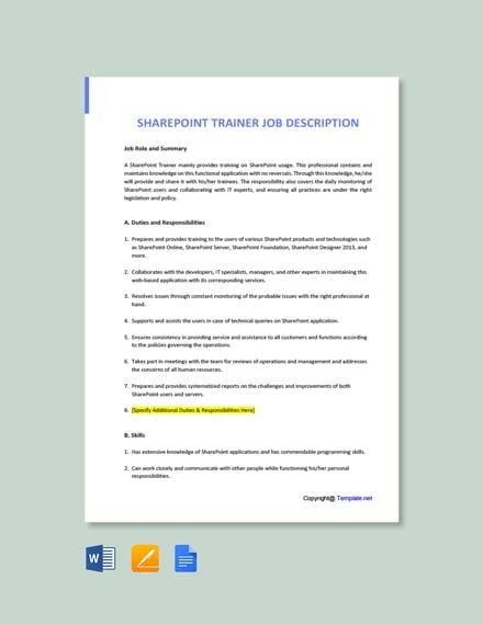 Free Sharepoint Trainer Job Ad/Description Template