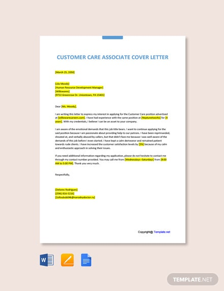 Free Customer Care Associate Cover Letter Template