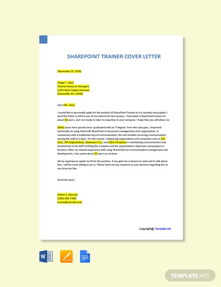 Free Sharepoint Trainer Cover Letter Template