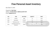Free Personal Asset Inventory Template