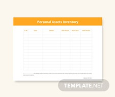 Personal Asset Inventory Template