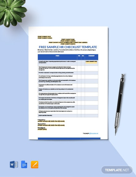 Free Sample HR Checklist Template