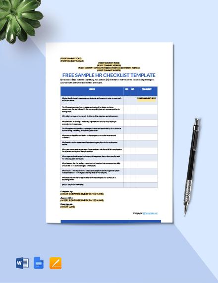 Free Sample HR Checklist Template