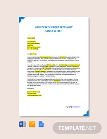 Free Help Desk Support Specialist Cover Letter Template