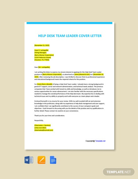 Free Help Desk Team Leader Cover Letter Template