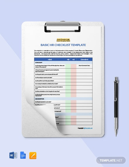 Free Basic HR Checklist Template