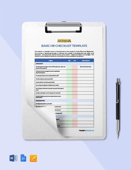 Free Basic HR Checklist Template