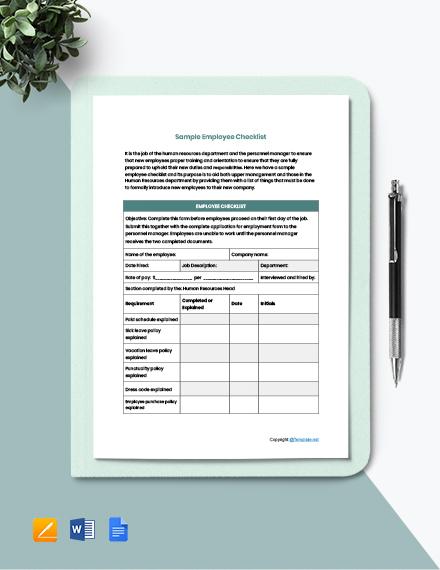 Free Sample Employee Checklist Template