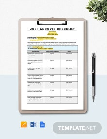 Job Handover Checklist Template