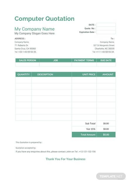free quotation templates download ready made template net